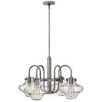Hinkley 3041AN Congress 4 Light 27 inch Antique Nickel Chandelier Ceiling Light, Retro Glass