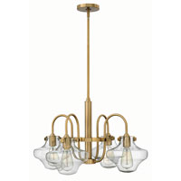 Hinkley 3041BC Congress 4 Light 27 inch Brushed Caramel Chandelier Ceiling Light, Retro Glass