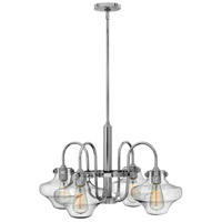 Hinkley 3041CM Congress 4 Light 27 inch Chrome Chandelier Ceiling Light, Retro Glass