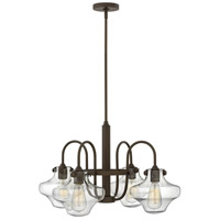 Hinkley 3041OZ Congress 4 Light 27 inch Oil Rubbed Bronze Chandelier Ceiling Light, Retro Glass