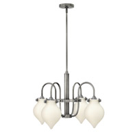 Hinkley 3042AN Congress 4 Light 25 inch Antique Nickel Chandelier Ceiling Light, Retro Glass
