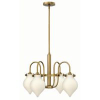 Hinkley 3042BC Congress 4 Light 25 inch Brushed Caramel Chandelier Ceiling Light, Retro Glass