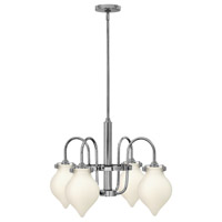 Hinkley 3042CM Congress 4 Light 25 inch Chrome Chandelier Ceiling Light, Retro Glass
