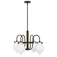 Hinkley 3042OZ Congress 4 Light 25 inch Oil Rubbed Bronze Chandelier Ceiling Light, Retro Glass