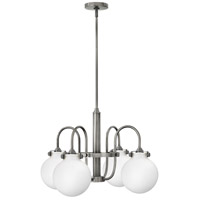 Hinkley 3043AN Congress 4 Light 25 inch Antique Nickel Chandelier Ceiling Light, Retro Glass