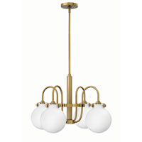 Hinkley 3043BC Congress 4 Light 26 inch Brushed Caramel Chandelier Ceiling Light, Retro Glass
