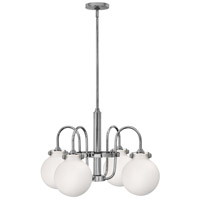 Hinkley 3043CM Congress 4 Light 25 inch Chrome Chandelier Ceiling Light, Retro Glass