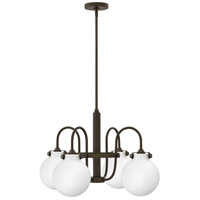 Hinkley 3043OZ Congress 4 Light 25 inch Oil Rubbed Bronze Chandelier Ceiling Light, Retro Glass