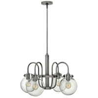 Hinkley 3044AN Congress 4 Light 25 inch Antique Nickel Chandelier Ceiling Light, Retro Glass