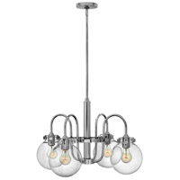 Congress 4 Light 26 inch Chrome Chandelier Ceiling Light, Retro Glass