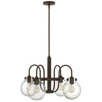 Hinkley 3044OZ Congress 4 Light 25 inch Oil Rubbed Bronze Chandelier Ceiling Light, Retro Glass