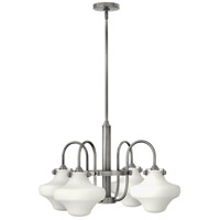Hinkley 3045AN Congress 4 Light 27 inch Antique Nickel Chandelier Ceiling Light, Retro Glass