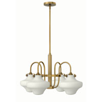 Hinkley 3045BC Congress 4 Light 27 inch Brushed Caramel Chandelier Ceiling Light, Retro Glass