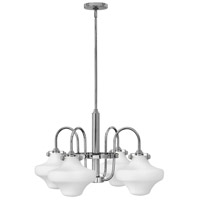 Hinkley 3045CM Congress 4 Light 27 inch Chrome Chandelier Ceiling Light, Retro Glass