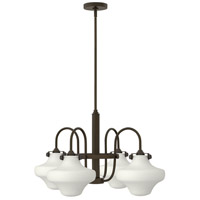 Hinkley 3045OZ Congress 4 Light 27 inch Oil Rubbed Bronze Chandelier Ceiling Light, Retro Glass