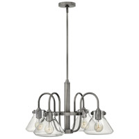 Hinkley 3046AN Congress 4 Light 26 inch Antique Nickel Chandelier Ceiling Light, Retro Glass