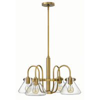 Hinkley 3046BC Congress 4 Light 26 inch Brushed Caramel Chandelier Ceiling Light, Retro Glass