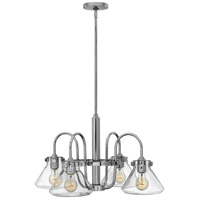 Hinkley 3046CM Congress 4 Light 26 inch Chrome Chandelier Ceiling Light, Retro Glass