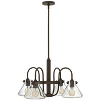 Hinkley 3046OZ Congress 4 Light 26 inch Oil Rubbed Bronze Chandelier Ceiling Light, Retro Glass