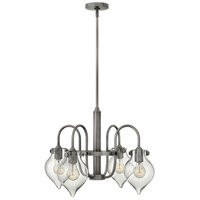 Hinkley 3047AN Congress 4 Light 24 inch Antique Nickel Chandelier Ceiling Light, Retro Glass