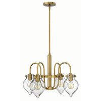 Hinkley 3047BC Congress 4 Light 25 inch Brushed Caramel Chandelier Ceiling Light, Retro Glass
