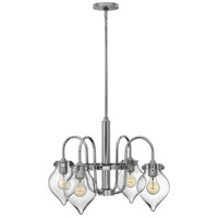 Hinkley 3047CM Congress 4 Light 25 inch Chrome Chandelier Ceiling Light, Retro Glass