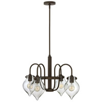 Hinkley 3047OZ Congress 4 Light 25 inch Oil Rubbed Bronze Chandelier Ceiling Light, Retro Glass