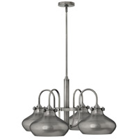Hinkley 3048AN Congress 4 Light 28 inch Antique Nickel Chandelier Ceiling Light, Retro Glass