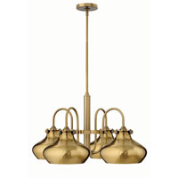 Hinkley 3048BC Congress 4 Light 28 inch Brushed Caramel Chandelier Ceiling Light, Retro Glass