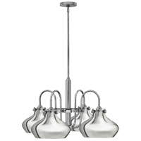 Hinkley 3048CM Congress 4 Light 28 inch Chrome Chandelier Ceiling Light, Retro Glass