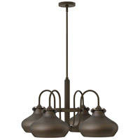 Hinkley 3048OZ Congress 4 Light 28 inch Oil Rubbed Bronze Chandelier Ceiling Light, Retro Glass