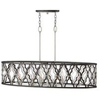 Portico 6 Light 42 inch Glacial with Metallic Matte Bronze Accents Linear Chandelier Ceiling Light, Oval