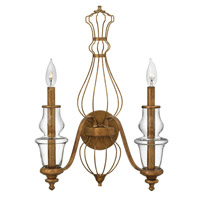 Hinkley Lighting Celine 2 Light Sconce in Antique Gold Leaf 3082GF