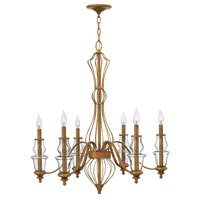Celine 6 Light 30 inch Antique Gold Leaf Chandelier Ceiling Light