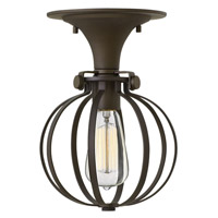 Congress 1 Light 8 inch Oil Rubbed Bronze Semi Flush Ceiling Light