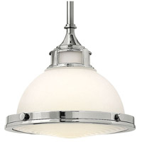 Hinkley 3127CM Amelia 1 Light 12 inch Chrome Mini-Pendant Ceiling Light in Incandescent, Etched Opal Glass alternative photo thumbnail