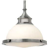 Hinkley 3127PL Amelia 1 Light 12 inch Polished Antique Nickel Mini-Pendant Ceiling Light in Incandescent, Etched Opal Glass alternative photo thumbnail