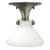 Hinkley Lighting Congress 1 Light Flush Mount in Antique Nickel with Etched Opal Glass 3140AN-LED