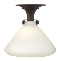 Hinkley Lighting Congress 1 Light Flush Mount in Oil Rubbed Bronze with Etched Opal Glass 3141OZ-LED