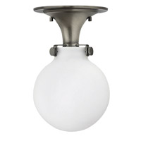 Hinkley Lighting Congress 1 Light Flush Mount in Antique Nickel with Etched Opal Glass 3143AN-LED