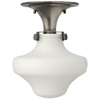 Hinkley 3144AN Congress 1 Light 9 inch Antique Nickel Flush Mount Ceiling Light in Incandescent, Retro Glass