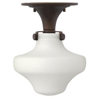 Hinkley Lighting Congress 1 Light Flush Mount in Oil Rubbed Bronze with Etched Opal Glass 3144OZ-LED