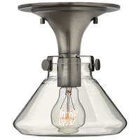 Congress 1 Light 8 inch Antique Nickel Foyer Flush Mount Ceiling Light, Retro Glass