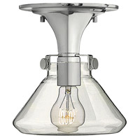 Hinkley 3146CM Congress 1 Light 8 inch Chrome Flush Mount Ceiling Light, Retro Glass