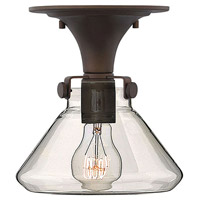 Congress 1 Light 8 inch Oil Rubbed Bronze Flush Mount Ceiling Light, Retro Glass