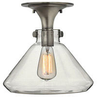 Hinkley 3147AN Congress 1 Light 12 inch Antique Nickel Flush Mount Ceiling Light, Retro Glass