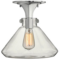 Congress 1 Light 12 inch Chrome Foyer Flush Mount Ceiling Light, Retro Glass