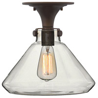 Hinkley 3147OZ Congress 1 Light 12 inch Oil Rubbed Bronze Flush Mount Ceiling Light, Retro Glass photo thumbnail