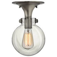 Congress 1 Light 7 inch Antique Nickel Foyer Flush Mount Ceiling Light, Retro Glass