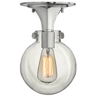 Congress 1 Light 7 inch Chrome Flush Mount Ceiling Light, Retro Glass